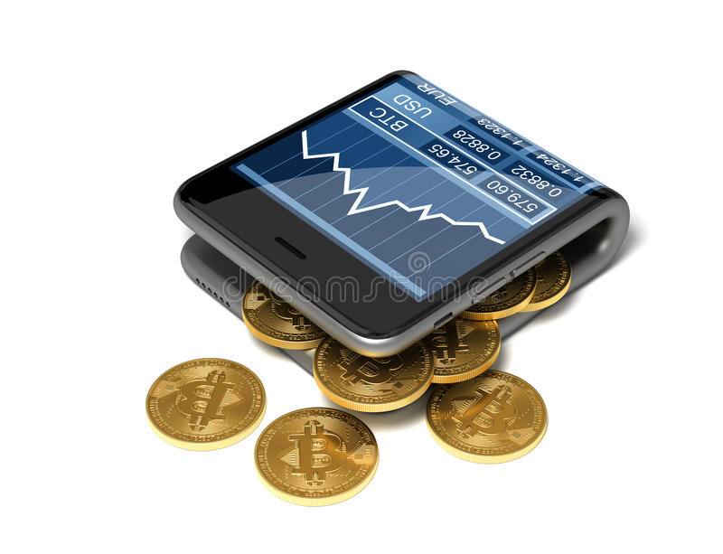 Concept Of Digital Wallet And Bitcoins. Gold Bitcoins Spill Out Of The Curved Smartphone. royalty free illustration