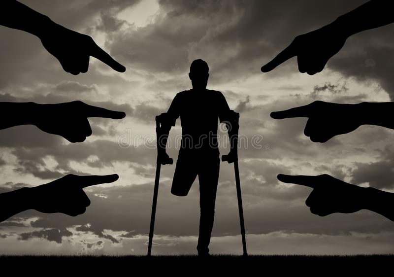 Concept of disability discrimination, social problems royalty free stock images