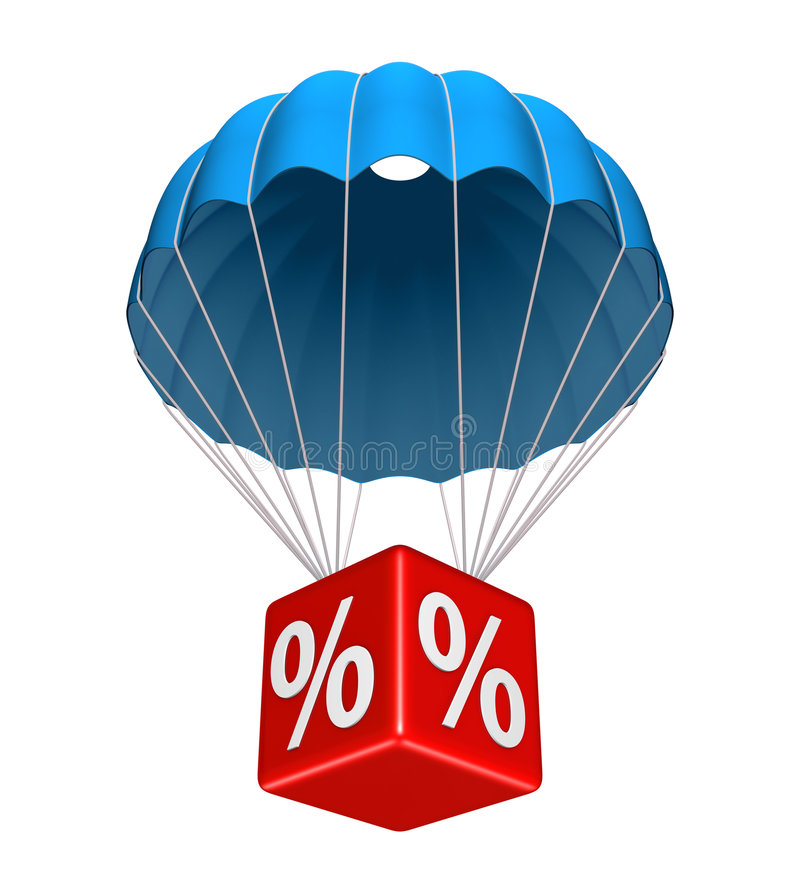 Concept of discount. With the symbols of percent on falling red cube and the parachute royalty free illustration