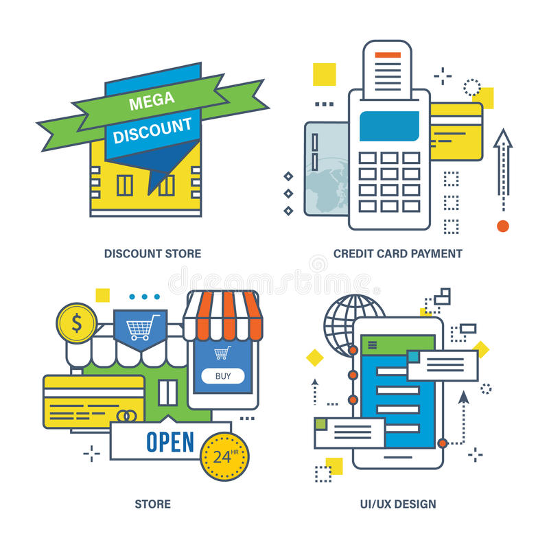 Concept of discount store, credit card payment, royalty free illustration