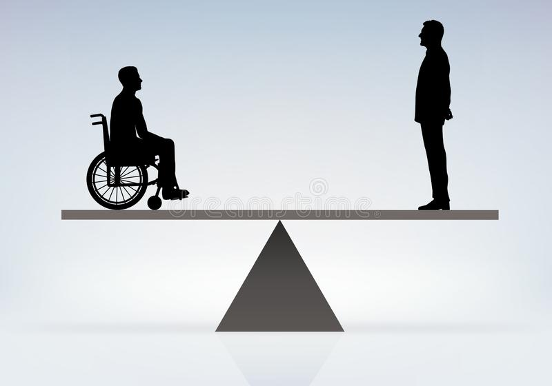 Concept of discrimination between a disabled person and a valid man royalty free illustration
