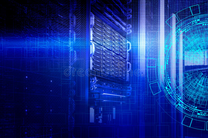 Concept of disk storage data center. Information technology and database on technological background stock image