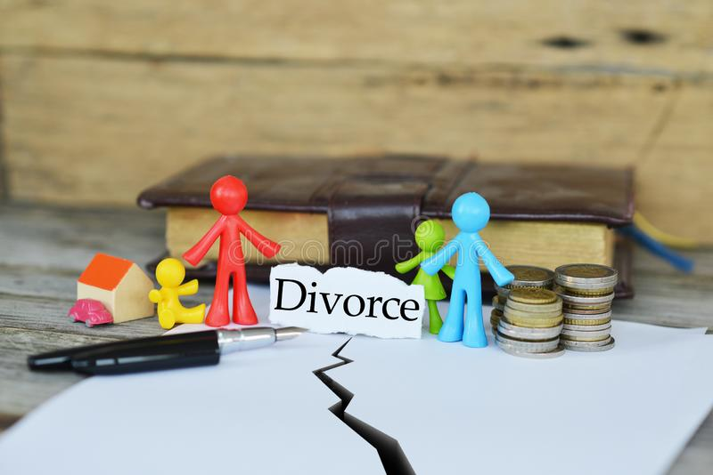 Concept of divorce and dividing the common goods or properties stock photo