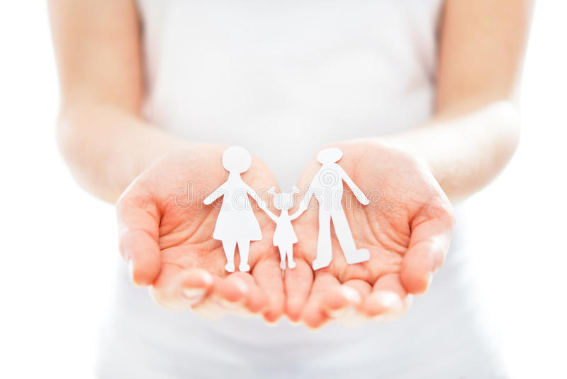 Concept. document cijfers van familie in handen royalty-vrije stock foto's
