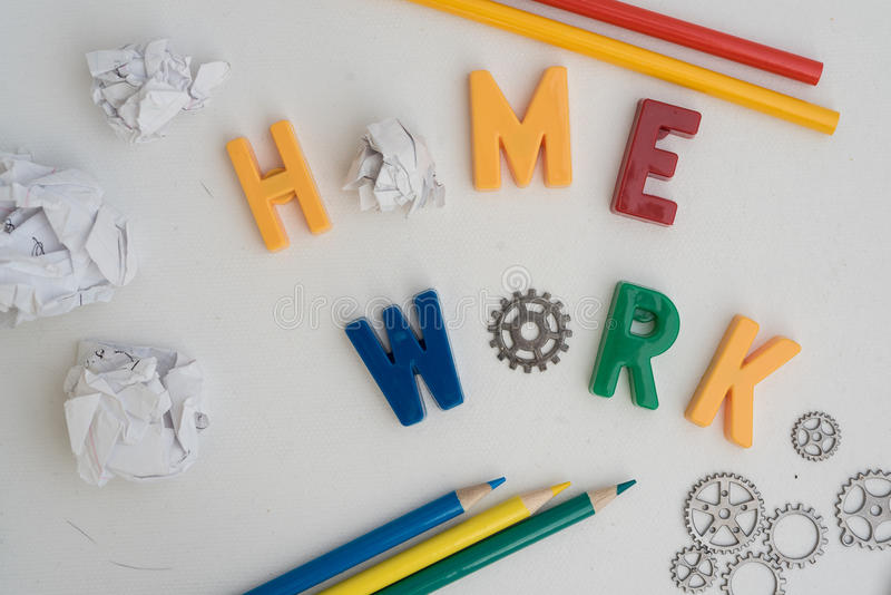 Concept of Doing Homework. Still life of concept of homework royalty free stock photos