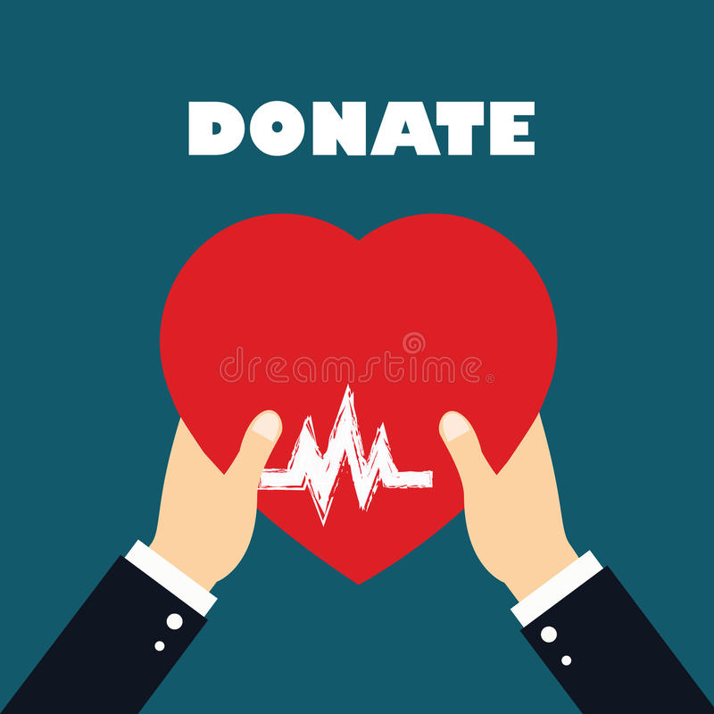 Concept Of Donate Organ Heart In A Hand Symbol Heart Icon In Red