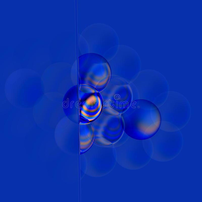 Concept doux de filtre Bulles abstraites du bleu 3d Bulle de savon translucide colorée par turquoise Éléments ronds vitreux de Di illustration de vecteur