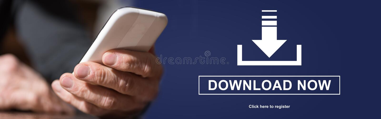 Concept of download. Hand holding mobil phone with download concept on background royalty free stock photography