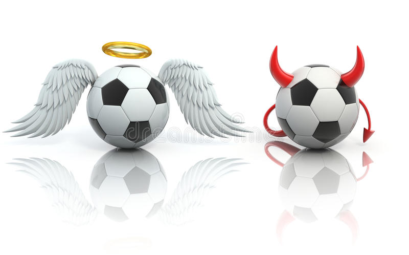 Concept drôle du football 3d - ange et ballons de football de diable illustration de vecteur