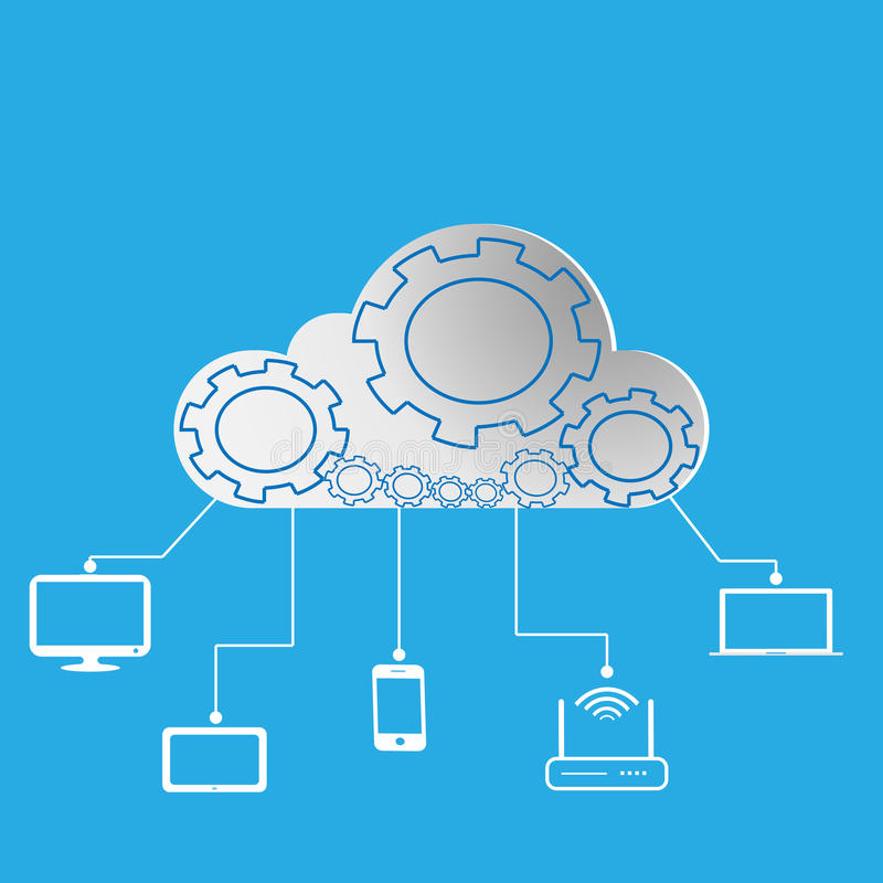 Concept draadloos wolkennetwerk en verdeelde gegevensverwerking Vector royalty-vrije illustratie
