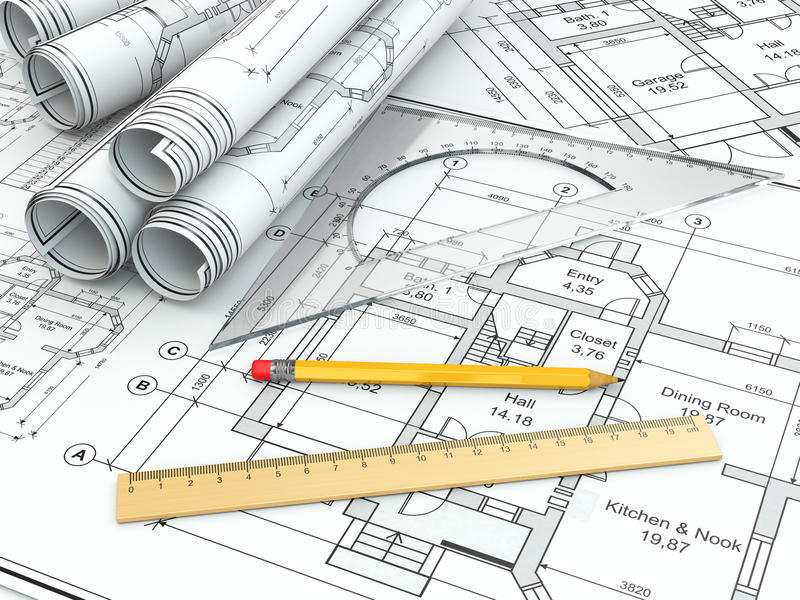 Concept of drawing blueprints and drafting tools stock for Architecture drawing tools