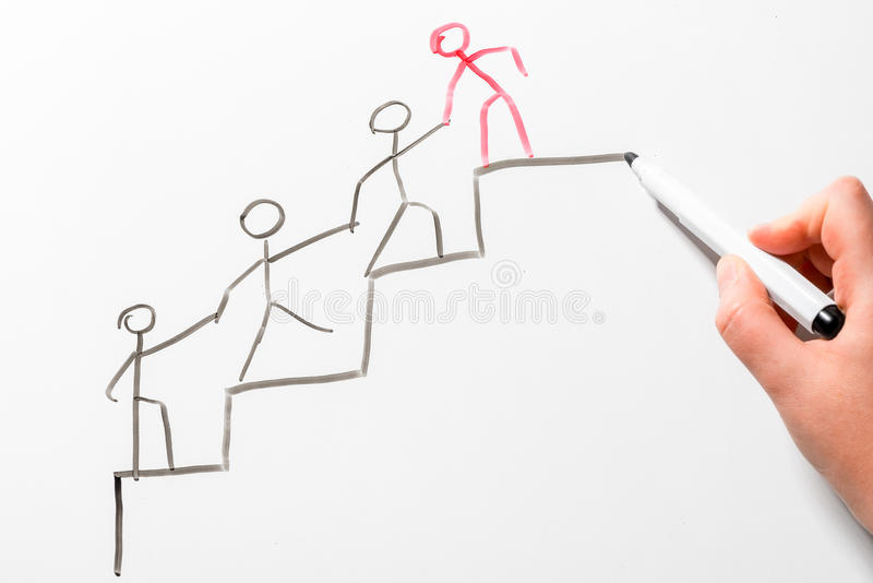 Concept drawing - helping a colleague to move p the career ladder stock images