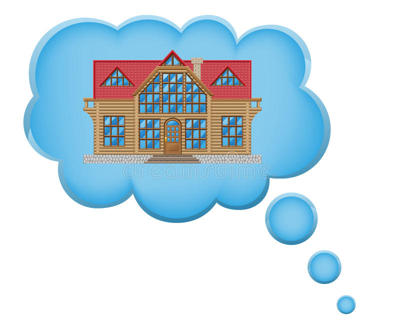Concept Of Dream A House In Cloud Vector Illustrat Royalty Free Stock Images