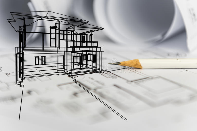 Concept of dream house draw by designer with construction drawing. As background stock photography