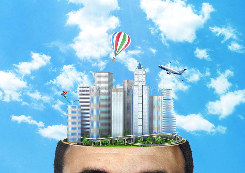 Concept of dreaming. City of the future in the cut of head against the background of the sky. Concept of planning. Thinking royalty free illustration