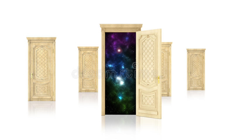 Concept of dreaming. Open door surrounded by closed doors on white background. Concept of path royalty free illustration