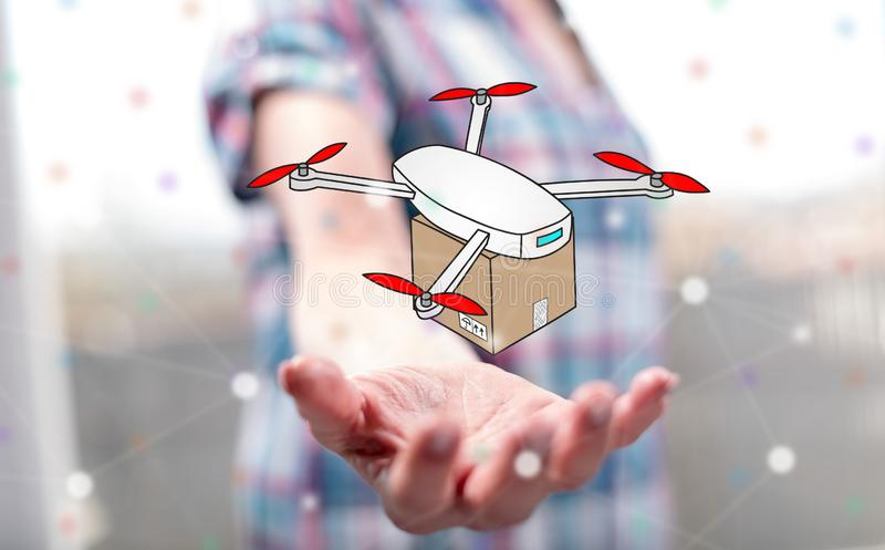 Concept of drone delivery stock image  Image of technology