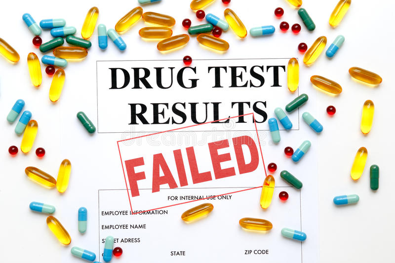 Concept drug test results are failed with pills. On white background stock photo