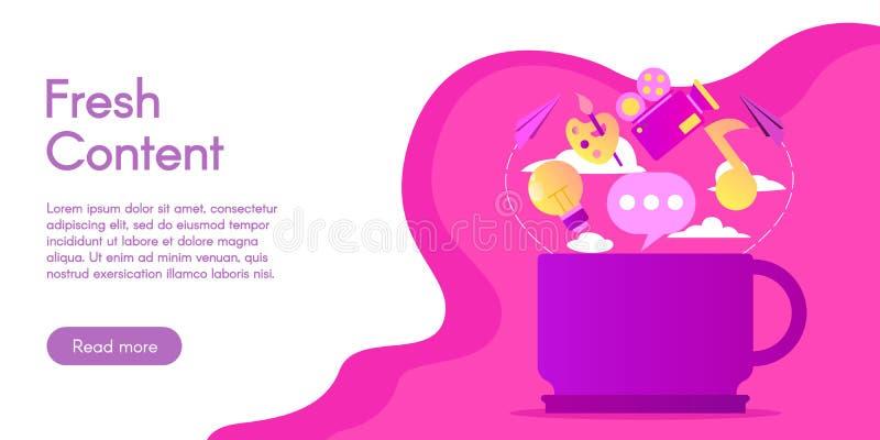 Concept du contenu frais, illustration de vecteur dans la conception plate images libres de droits