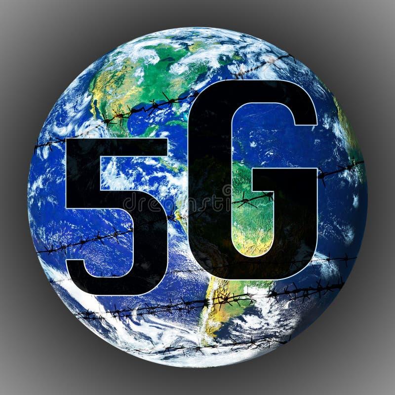 Concept du danger de la technologie 5G pour la terre illustration stock