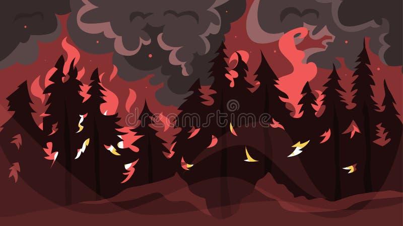 Concept du feu de forêt Flamme rouge chaude dans la forêt illustration libre de droits