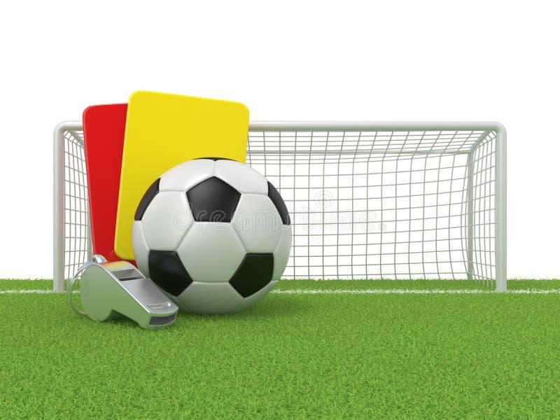 Concept du football Carte de pénalité, sifflement en métal et boule et porte (rouges et jaunes) du football (le football) illustration libre de droits