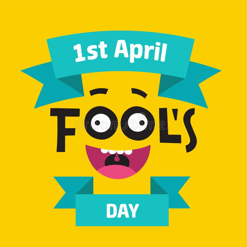 Concept du jour d'April Fool avec le texte coloré sur le fond jaune Main écrite marquant avec des lettres la composition avec le  illustration de vecteur