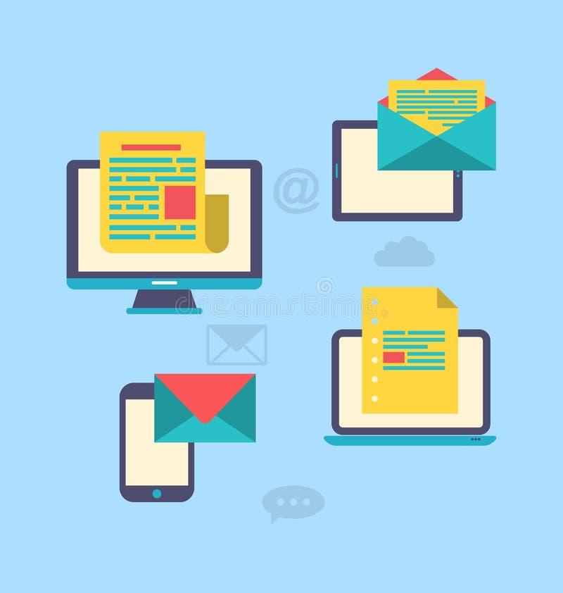 Concept du marketing d'email par l'intermédiaire des instruments électroniques - bulletin d'information a illustration libre de droits