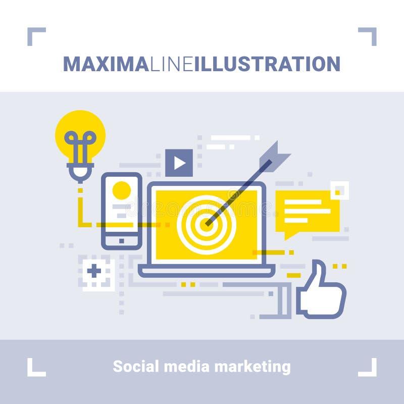 Concept du media social lançant sur le marché et des réseaux sociaux Illustration au trait maximum Conception plate moderne Compo illustration stock