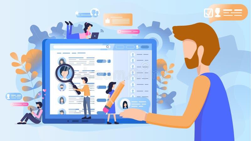 Concept du recrutement à travailler à la société illustration stock