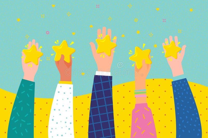 Concept du taux Les mains tiennent 5 étoiles de évaluation illustration libre de droits
