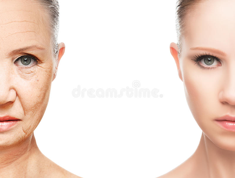 Concept du vieillissement et des soins de la peau image libre de droits