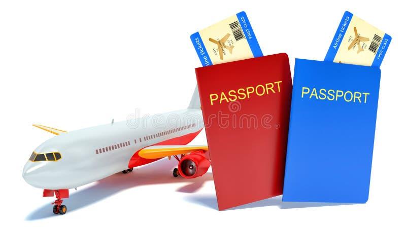 concept du voyage 3d avec l'avion, le passeport et la carte d'embarquement illustration libre de droits