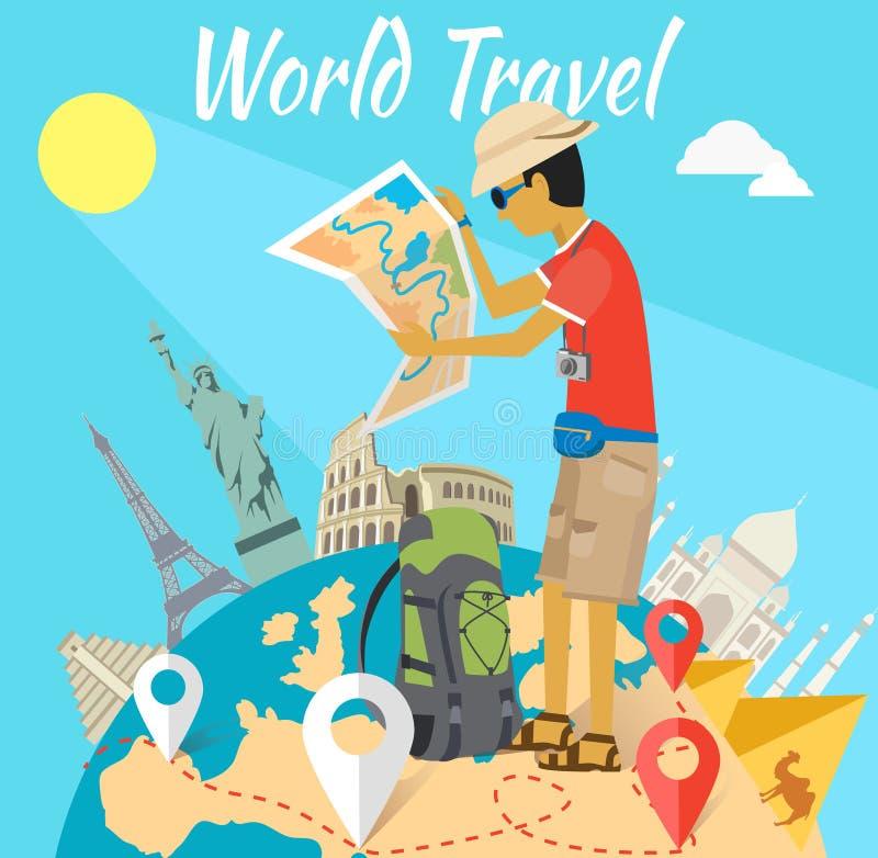 Concept du voyage d'aventure du monde illustration stock