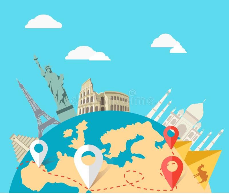 Concept du voyage d'aventure du monde illustration libre de droits
