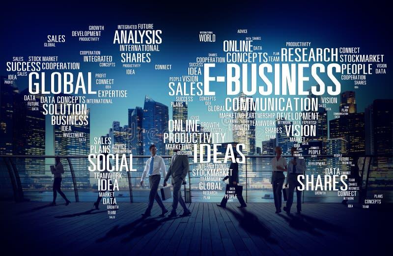 Concept e-business het Globale van de Bedrijfshandels Online Wereld stock afbeeldingen