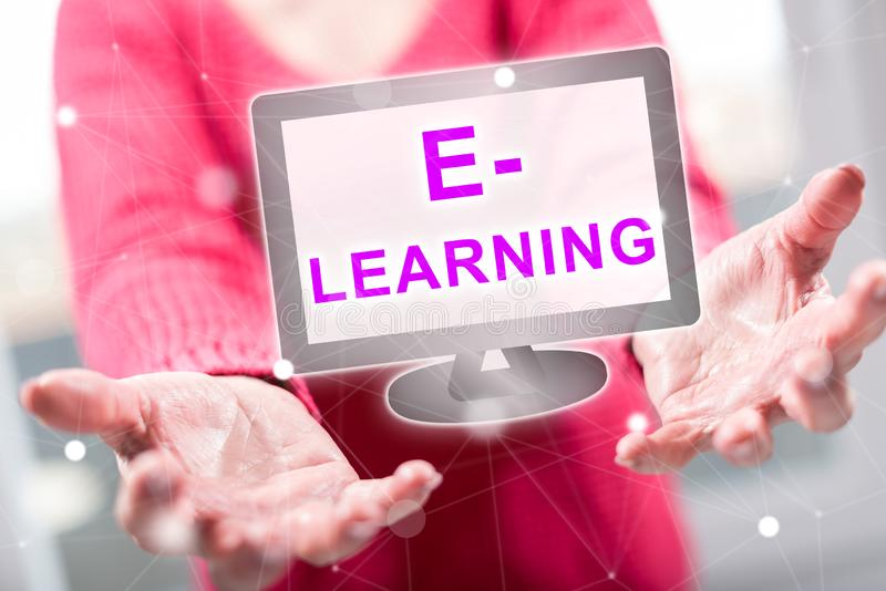 Concept of e-learning. E-learning concept above the hands of a woman in background royalty free stock photography