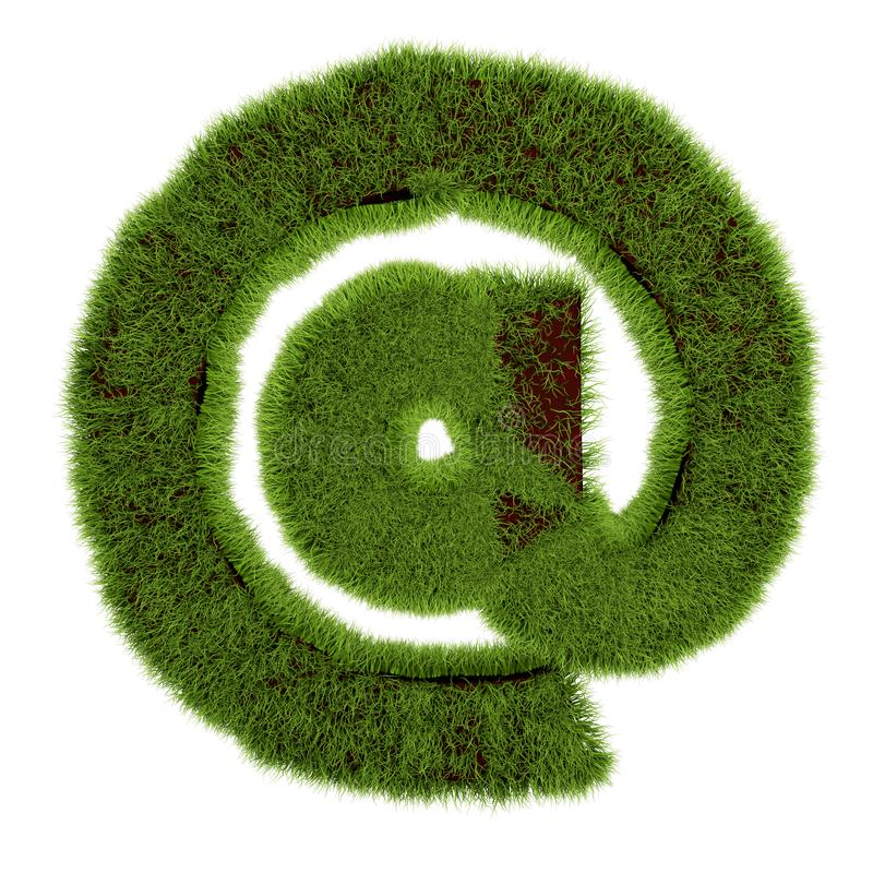 Concept of e-mail symbol covered grass on white background - 3D illustration vector illustration