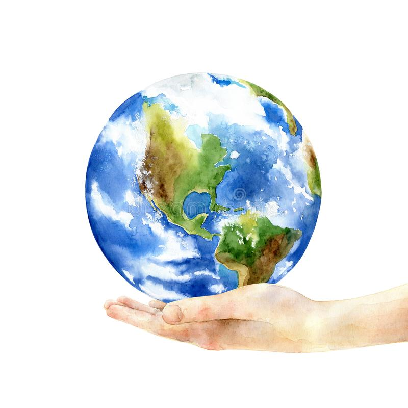 Concept of the Earth Day. Hand holding the earth. Concept of the Earth Day. Watercolor illustration royalty free illustration