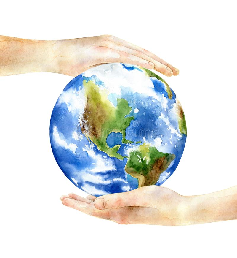 Concept of the Earth Day. Hands holding the earth. Concept of the Earth Day. Watercolor illustration vector illustration