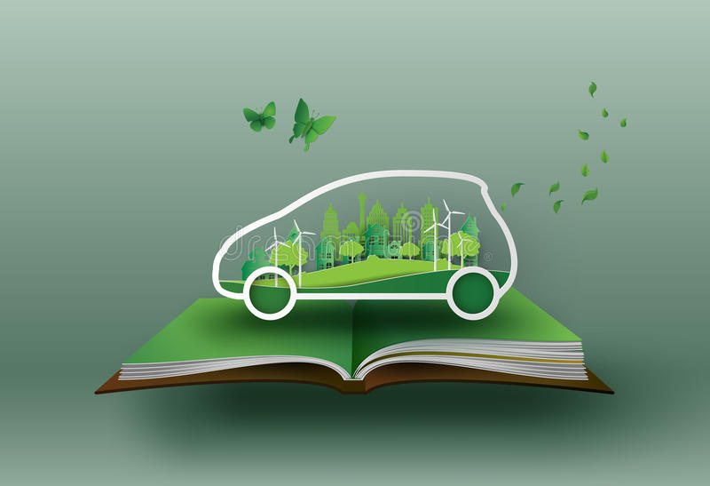 Eco car concept. Concept of eco car with nature in the city.paper art and craft style royalty free illustration