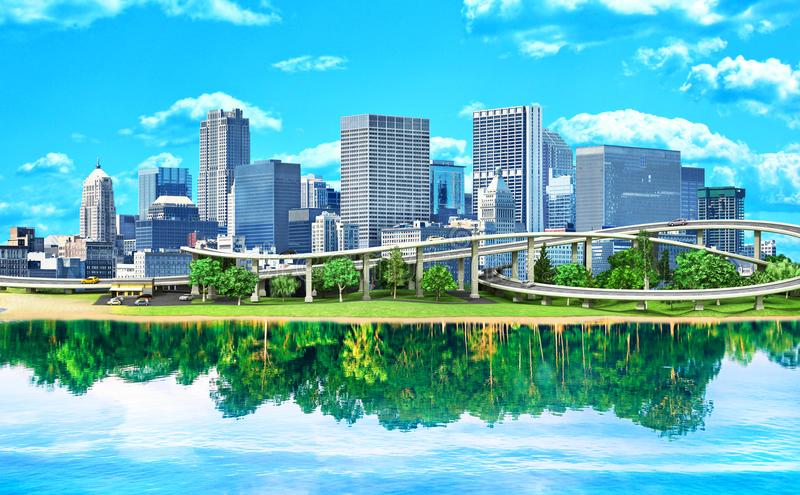 Concept of eco city. The city is reflected in the water. Like a forest. Save the planet vector illustration