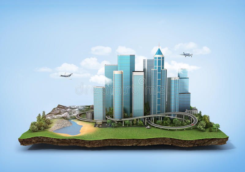 Concept of eco city. Modern city with skyscrapers, highway and cars surrounded by nature landscape on the patch of land. 3d illustration royalty free illustration