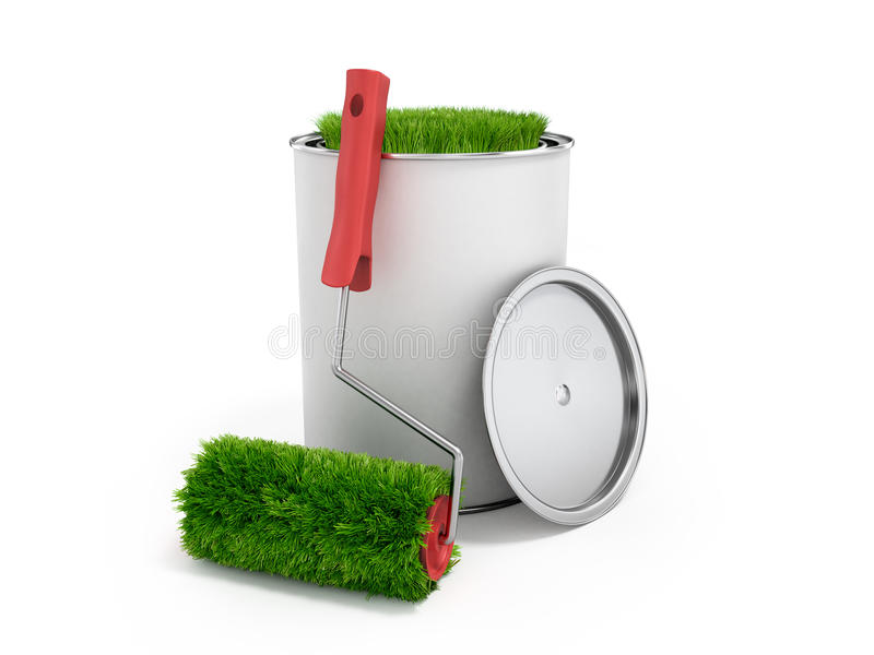 Concept Of Eco Friendly Paint Grass Growing From A Paint