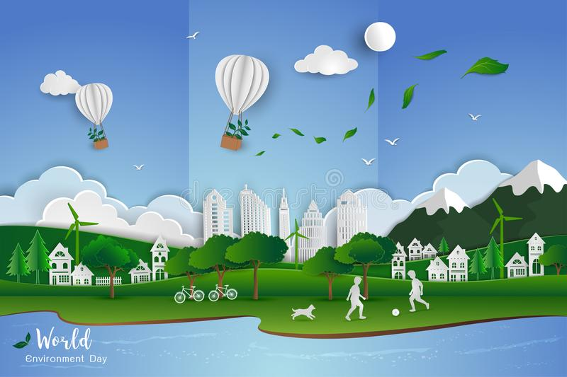 Childs playing soccer with white clean city on paper art scene abstract background,vector illustration. Concept of eco friendly save the world and environment royalty free illustration