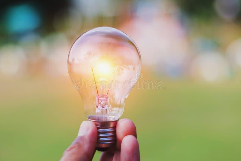 Concept eco - hand holding light bulb with idea saving power en. Ergy stock photography