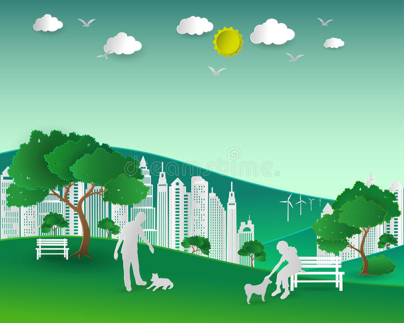Concept of eco with nature and building,couple love dogs happy. In the city park,paper art and craft style,vector illustration vector illustration