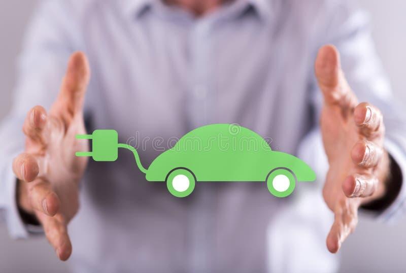 Concept eco vriendschappelijke auto stock foto