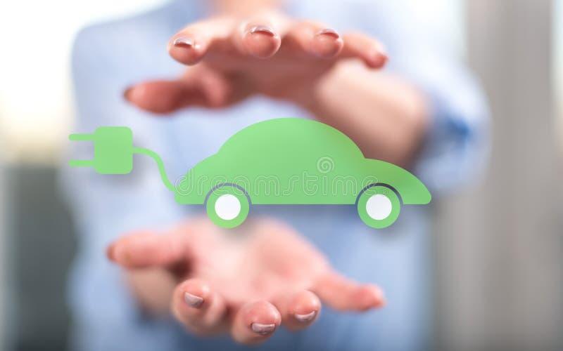 Concept eco vriendschappelijke auto stock afbeeldingen