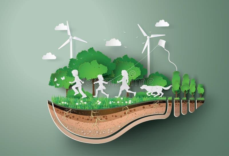 Concept ecologie en milieu met kinderen die in het park lopen vector illustratie